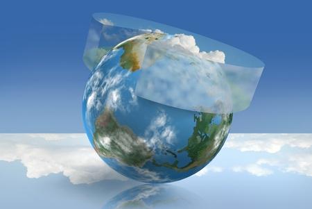 Klima-Steuerungstechnik, illustriert mit einem atmosphärischen Kreisdiagramm Standard-Bild - 9995339