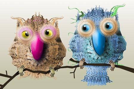 lovebirds: Sweet cartoony cutout lovebirds for valentines day Stock Photo