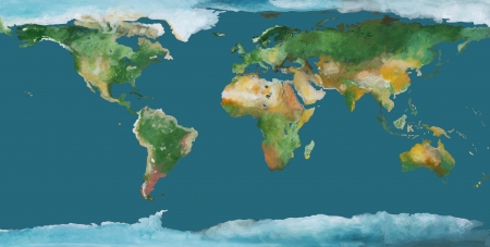 worldmap: Hand drawen illustration. Water is isolated in one color