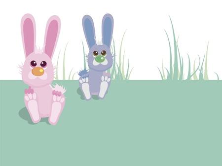 Twin baby boy and girl bunnies Stock Vector - 10135066