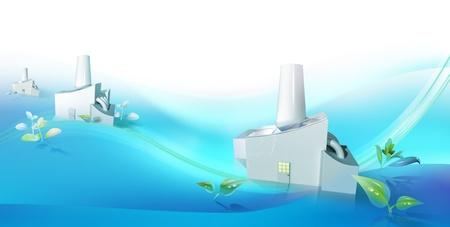 공장은 파란색에서 녹색 기술 클러스터로 작동 스톡 콘텐츠