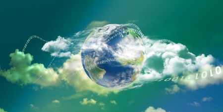 Cloud computing technology with great colors in panoramic view photo