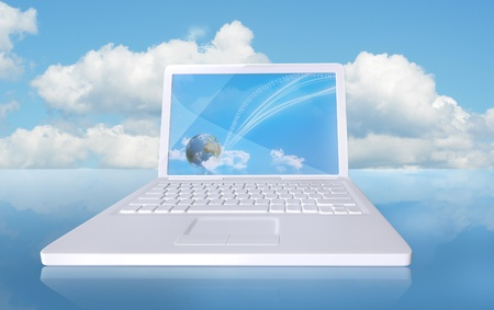 touchdown: Digital touchdown with cloud computing Stock Photo