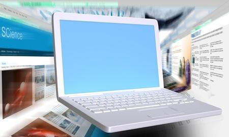 빈 화면이 흰색 노트북 뒤에 빠른 브라우저 스톡 콘텐츠