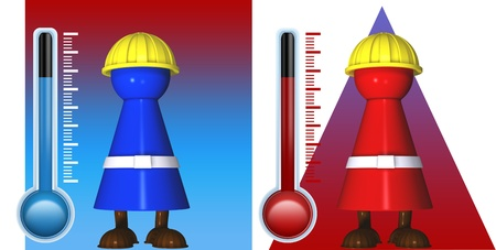 Worker icons in cold and warmth with radiant heat and thermostats photo