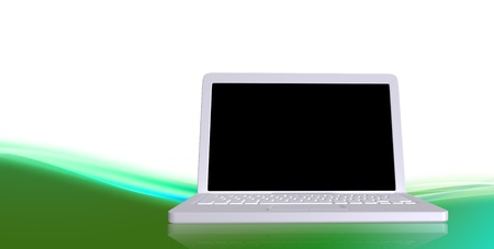 White laptop with a black screen on wavy green ground Stock Photo - 10301816