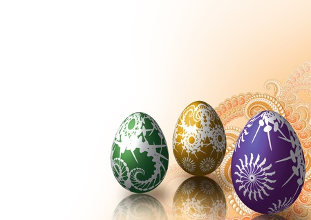 Easter eggs on fractal background in orange Stock Photo