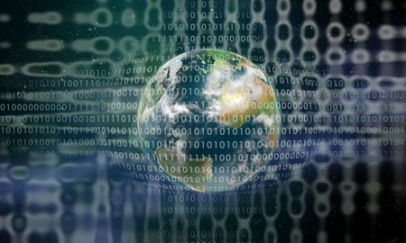 Earth behind a digital grid photo