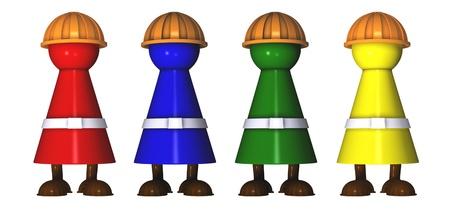 work craftmen as ludo tokens Standard-Bild