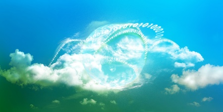 Cloud computing technology with bright colors in panoramic view and illustrated with mother earth and digits 写真素材