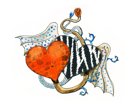 acrylic paint and pen. Zebra and brick pattern in wild hearts with wings illustrated as inked work Standard-Bild