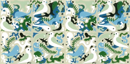 Military brush work with peace doves for camouflage. Artwork can be duplicated in squares