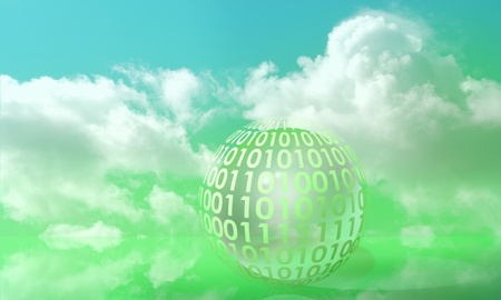 Digits on a sphere symbolizing digital info in a green environment