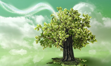Green technology waving into a large beech with cloudy green background Stock Photo
