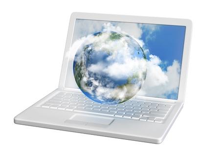 madre terra: informatici nube con la madre terra e un computer portatile e bianco