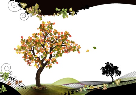 Nature header and footer with beech tree Фото со стока