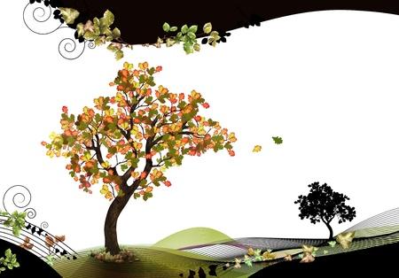 Nature Kopf-und Fußzeile mit Buche Standard-Bild - 10771579