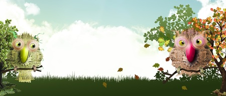 sweet forest banner with birds in fall photo