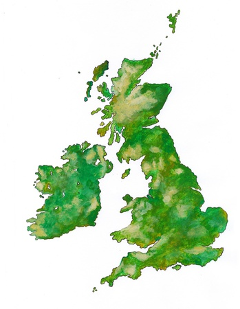 The British Isles as brush illustration . Acrylic paint and pen.