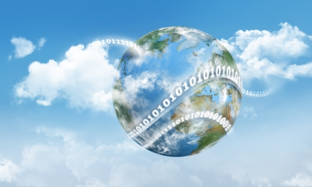 Cloud Computing on Earth with Digits and Clouds Stock Photo - 16060131