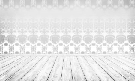 Wall with Silver Damask and White Wooden Floor Stock Photo - 16911027