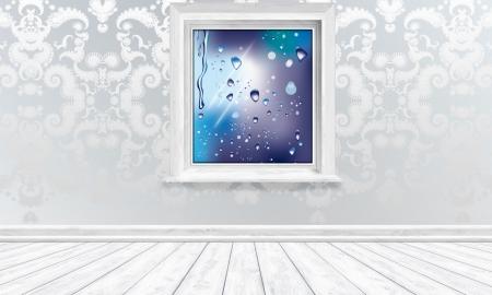 Window View Raindrops in Bright Interior