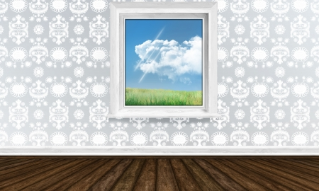 Window View with Spring in Bright Interior