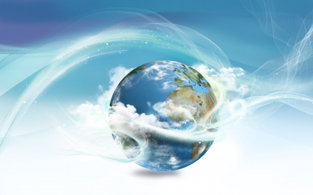 world globe map: Energy Surrounding Earth with Law of Attraction