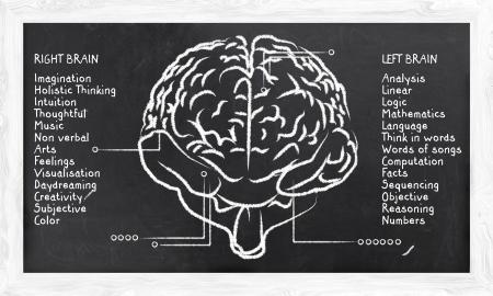 칠판에 오른쪽과 왼쪽 반구에 대한 기술 스톡 콘텐츠
