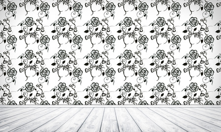 Empty Interior Background With Floral Seamless Pattern Stock Photo
