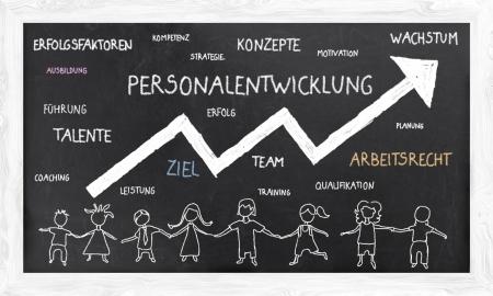 relaciones laborales: Conceptos en alemán en la pizarra con las palabras y los seres humanos en la ilustración Foto de archivo