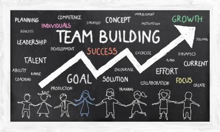 Crecimiento con Team Building en la pizarra Foto de archivo - 24536508