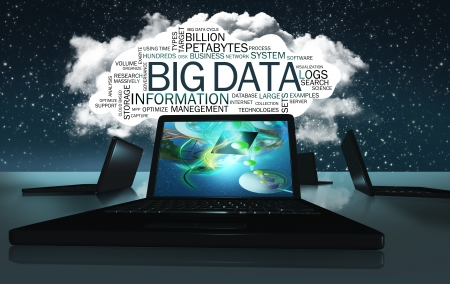governance: Technologie Word Cloud met Voorwaarden van Big Data Stockfoto
