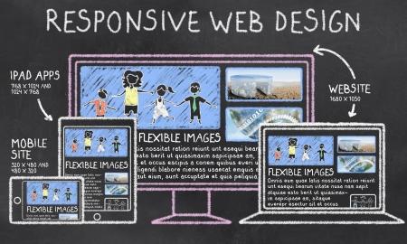 응답 웹 디자인은 칠판에 대한 자세한 스톡 콘텐츠