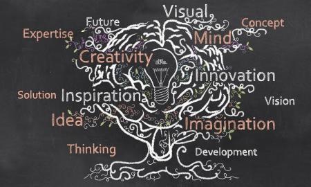 Creativity Grows like a Tree out of a Brain with a Bulp Standard-Bild