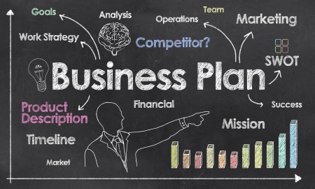 business plan: Business Plan with Creative Businessman showing Positive Growth Stock Photo
