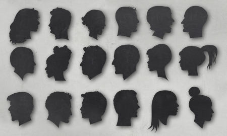 Vintage Collection of Human Silhouettes with Clipping Path