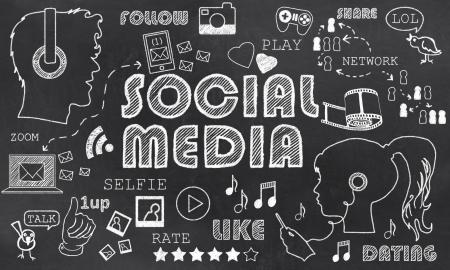 Social Media on Blackboard wit Chalk Doodles