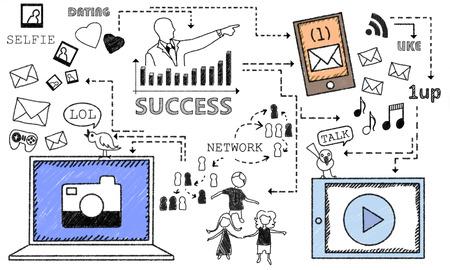 Doodles draws Success with  Social Media  Stock Photo