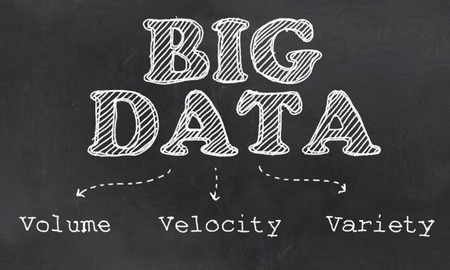 Big Data with Volume, Velocity and Variety Illustrated as Chalk on Blackboard