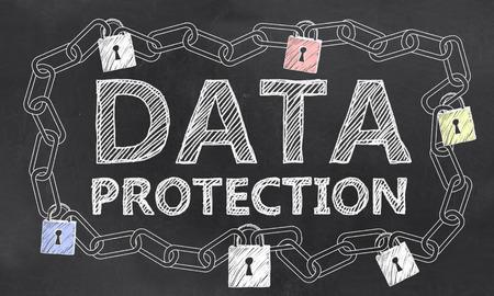 큰 데이터 칠판에 분필로 IT 보안 문제