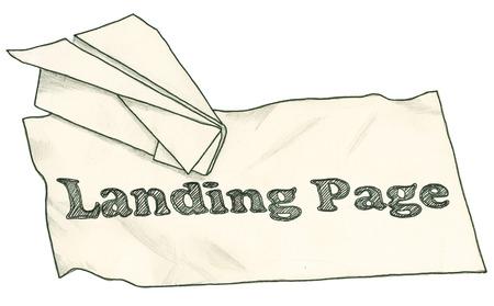 クリッピング パスを持つランディング ページの紙飛行機