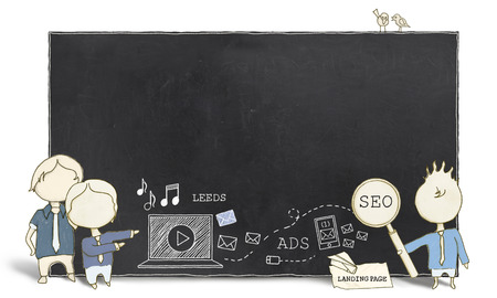 Web Experts with Blank Blackboard on White Background  photo