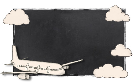 Empty Blackboard With Airplane and Cloud Frame