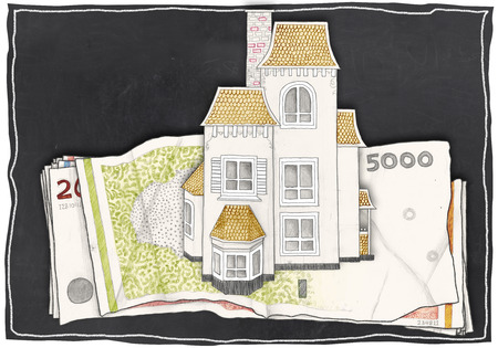 let out: Paper Drawn House and Money on Blackboard Stock Photo