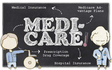 Medicare Drawing on Blackboard with Clipping Path Stock Photo