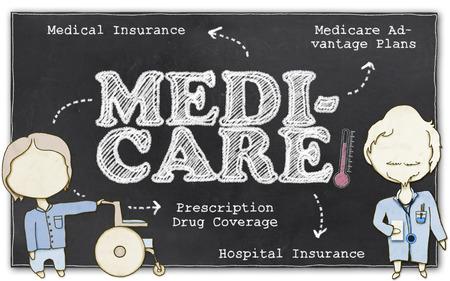Medicare-Zeichnung auf Tafel mit Beschneidungspfad Standard-Bild - 27197145