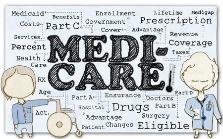 Tekening van Medicare met Stok Mannen en Clipping Path