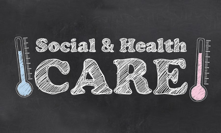 mercury staff: Social and Health Care on Blackboard with Thermometres