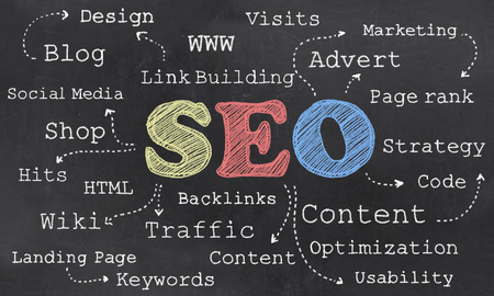 Words of Search Engine Optimization on Blackboard Stock Photo